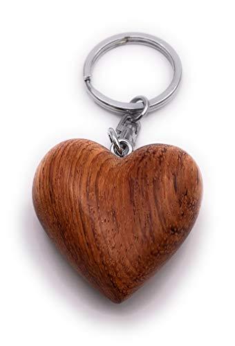 H-Customs Pendentif Porte-clé Fait Main en Forme de Coeur avec Coeur en Bois Brun