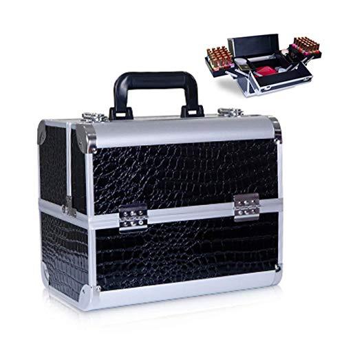 RONGJJ Cajas De Herramientas Portátiles, Caja De Aluminio Makep Box Caja De Cosméticos Profesional con Bandeja De Herramientas Extraíble Y Manijas Pestillos, A