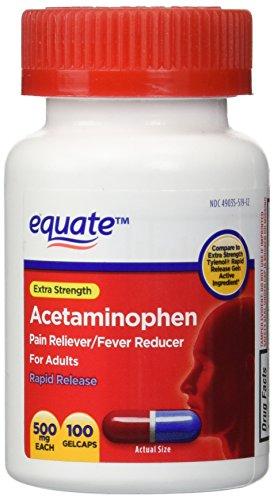 Equate - Acetaminophen 500 mg, Pain Reliever, Rapid Release Gels, 100 Gelcaps