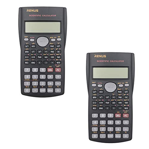 RENUS 2 Packs, 2-Line Engineering Scientific Calculator Function Calculator for Student and Teacher 4 AAA Batteries Included