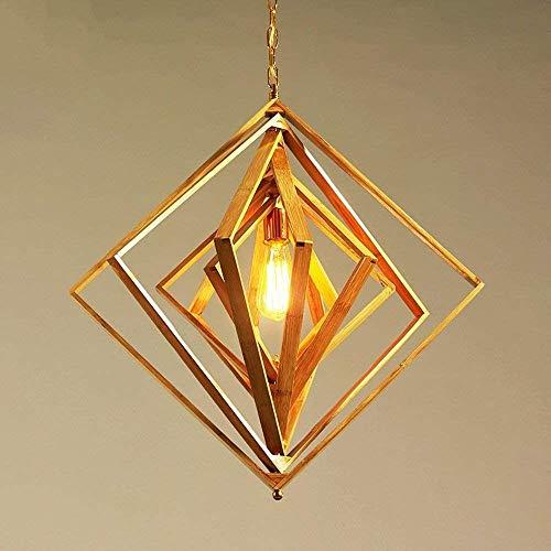 SPNEC Lampada da soffitto a Sospensione Regolabile in bambù con personalità Creativa retrò Lampadario con luci a Sospensione in Legno con Rotazione in Ferro con Soggiorno Ristorante