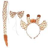 Minkissy - Disfraz infantil de jirafa de tela, dibujos animados, cinta para la frente, pajarita,...