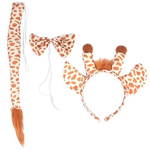 Minkissy - Disfraz infantil de jirafa de tela, dibujos animados, cinta para la frente, pajarita, cosplay, para fiestas, regalos para Halloween, Navidad, carnaval (amarillo)