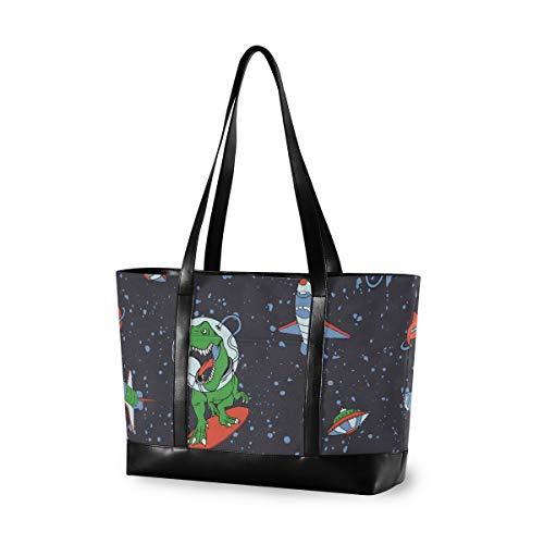Tasche passt 15,6 Zoll Laptop Damen Handtasche Leinwand Leder Leichte Umhängetasche Astronaut Dinosaurier