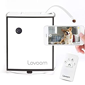 LOVOOM Pet Camera: Kibble Tossing Play, Wi-Fi Kibble Cam with Pan Zoom Two Way Audio Remote Control for Dogs and Cats (Black)