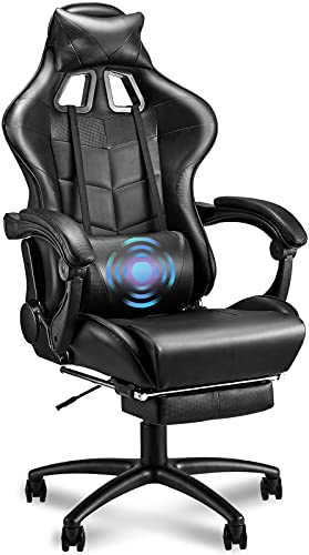 Soontrans Black Gaming Chair with Footrest for Big and Tall Person 400lbs,Computer Chair,Large Size Gamer Chair,High Back Video Game Chair with Headrest,Massage Lumbar Pillow (Galaxy Black)