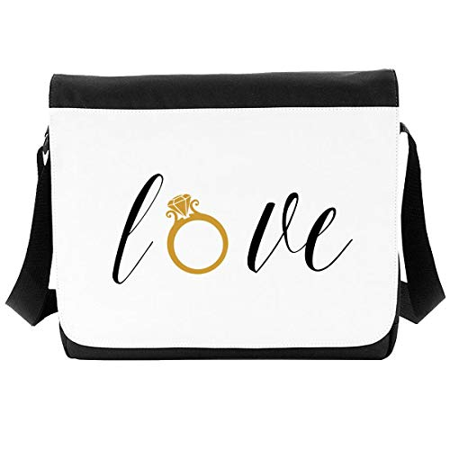 Amor palabra anillo declaración de boda [WED17] bolso de hombro, Black (Negro) - SB-WED17-7Q-Large