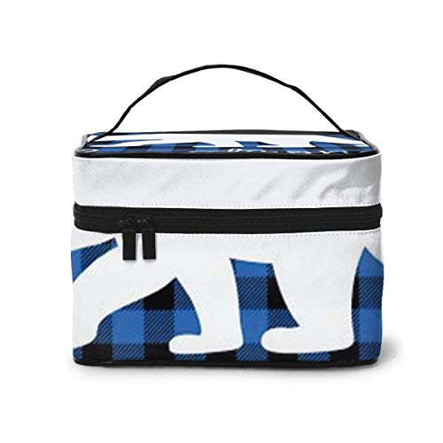 Buffalo Plaid Bear Be Strong Blue Black Cosmetic Organizer Portable Storage Bag, Multifunction Toiletry Bags