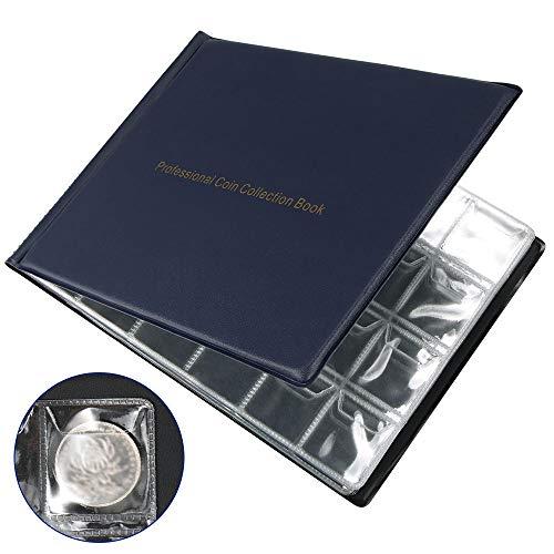 Generic Album Porta Monete per Collezionisti, 240 Tasche Raccogli Monete Forniture per Libri per Oro Argento Dollari Banconota da Un Dollaro Valuta Quarters Penny Blu-Estero