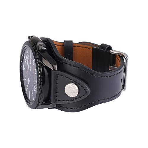Konafei Compatible con Samsung Galaxy Watch 46 mm/Gear S3 Frontier/Classic/Galaxy Watch 3 45 mm, 22 mm, piel auténtica, vintage, pulseras para hombre y mujer (negro)
