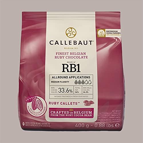 Lucgel Srl 400 gr Cioccolato Di Copertura CALLEBAUT per Gelato e Pasticceria Artigianale (Rosa Ruby)