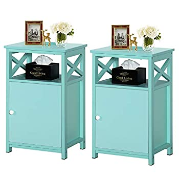 VECELO Modern End Storage Cabinet and Drawer Bedside Sofa Table,Large Capacity Nightstand for Living Room Bedroom,Office,Easy to Assemble,Set of 2 Blue 2set
