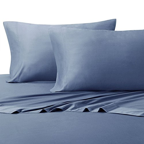 Royal Hotel Solid Periwinkle 600-Thread-Count 4pc King Bed Sheet Set 100-Percent Cotton, Sateen Solid, Deep Pocket