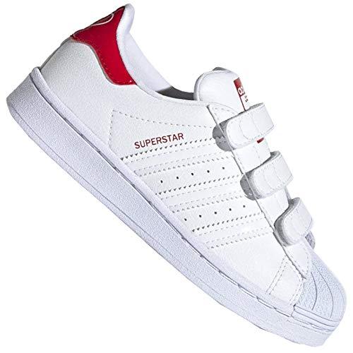 adidas Originals Superstar Heart - Zapatillas de deporte para niña, diseño de corazón, color blanco y rojo, color Blanco, talla 34 EU