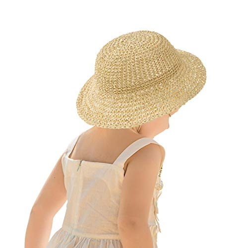 Sombrero De Pescador, Sombrero De Playa Bowknot, Sombrero De Paja De Verano Para Niños, Gorra De Sombrilla De Pesca Al Aire Libre Para Niños