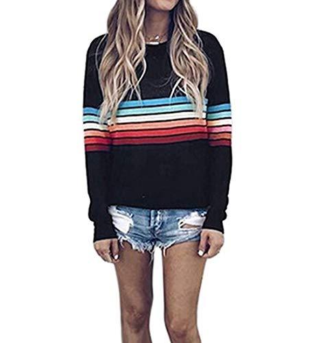 Yutila Damen Damen Regenbogen Pullover Sweatshirt Rainbow Casual Basic