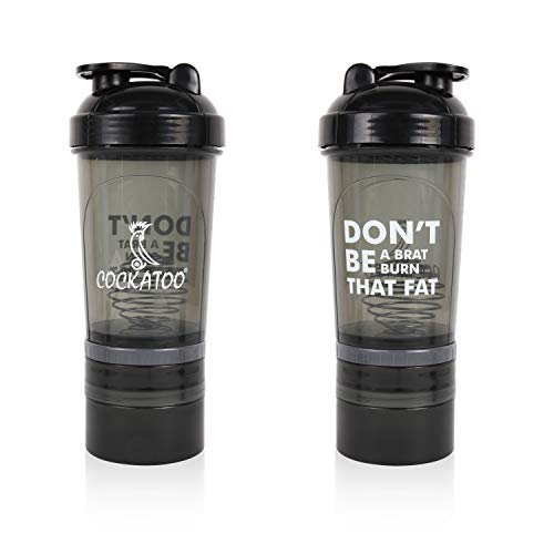 Cockatoo CS-02 Shakers for Protein Shake with Supplements Storage,Shaker Bottles(500 ML) (Black & Brown, 500 ML)