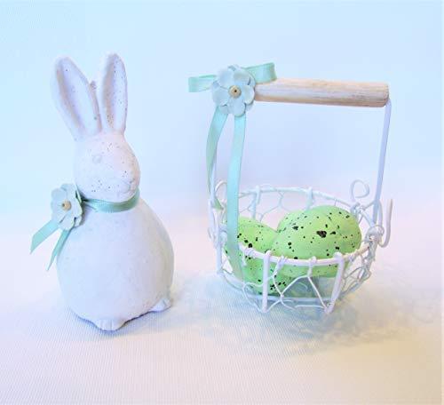 Hase aus Keramik weiß mit Osterkörbchen und kleine Blümchen Osterhase Osterdekoration Frühling Ostertisch Korb Eierkörbchen