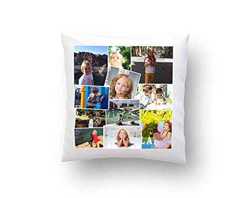 REGALPRIX Cojin Personalizado con Tus Fotos. Forma Cuadrada, Bordes y Fondo Blanco, Estampado a una Cara - 35 x 35 cm.
