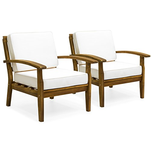 Best Choice Products Set of 2 Outdoor Acacia Wood Club Chairs for Patio, Porch, Poolside w/Cushions - Cream