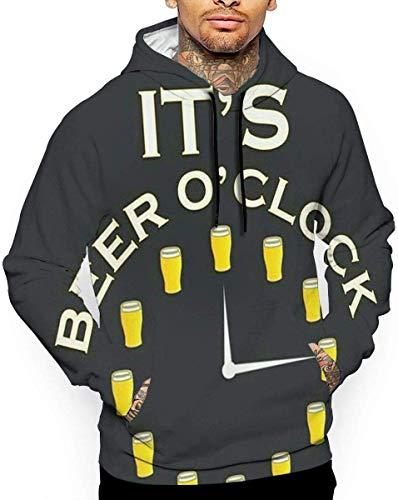 Es ist Bier Uhr Unisex Hoodie Neuheit Coole Langarm Pullover Big Pockets Hooded Funny Print Sweatshirt, 3XL