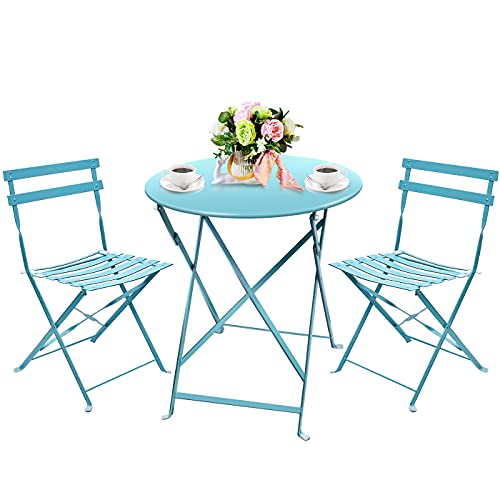 Amagabeli 3 Pieces Garden Bistro Set of Table(H90 x D60cm) and 2 Chairs(H83 x W42 x D38cm) Folding Metal Balcony Conservatory Outdoor Patio Furniture Set Rustproof Weatherproof 2 Seater Blue
