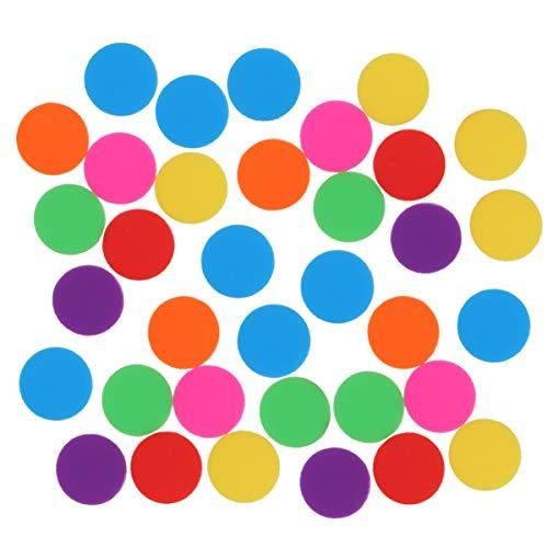 EXCEART 100 Stück Plastikzählchips Plastik Lernrunde Zähler Bingo Chip Disks Marker Mini Poker Chips für Mathe Übungsspiel Token (Verschiedene Farben)
