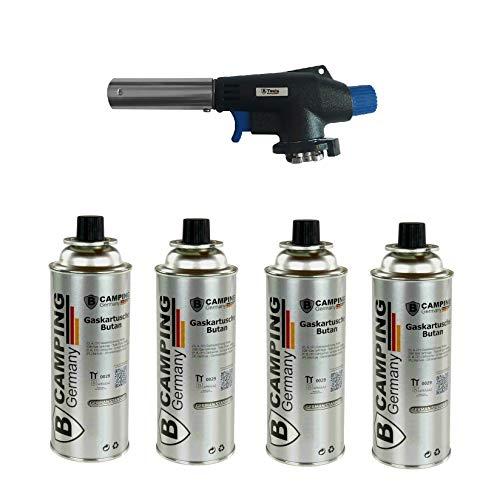 Beste Angebote Gasbrenner + 4 Gaskartusche, Lötbrenner Bunsenbrenner Lötlampe Brenner + 4xGas Gasbrenneraufsatz mit Piezozündung