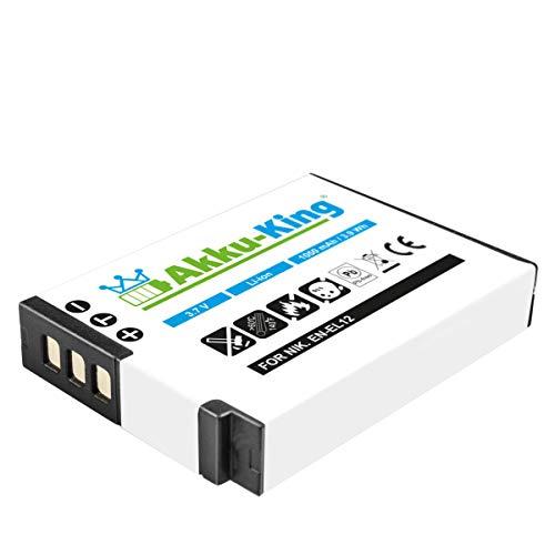 Akku-King Akku kompatibel mit Nikon EN-EL12 - Li-Ion 1050mAh - für Coolpix A900 AW100 110 120 130 P300 310 330 340 S31 S70 S610 S610c S620 630 640 710 800c