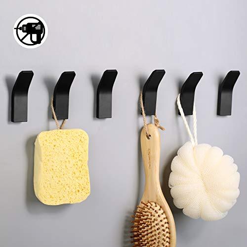 Handtuchhalter ohne bohren Schwarz 6 Stück, Handtuchhaken Wandhaken Wand aus Edelstahl, Haken für Bad Toilette Küche Büro Klebehaken (Schwarz)