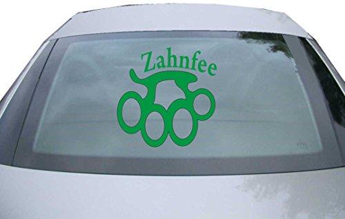 INDIGOS UG - Aufkleber Heckscheibe & Motorklappe DE6129 - grün - 600x600 mm - Zahnfee - Auto Scheiben Fenster Heckklappe Tuning Racing JDM - Die Cut