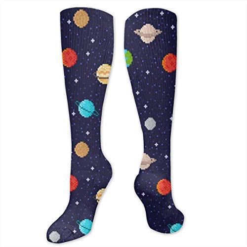 zhouyongz Pixel Art Planets - Calcetines deportivos divertidos para mujer y hombre, calcetines de compresión navideños