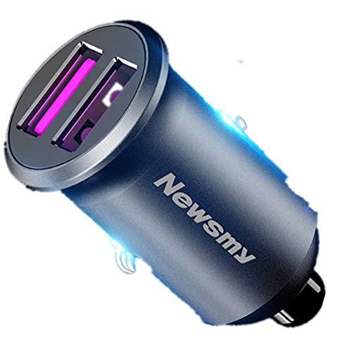 Equipo de carga de coche 2 USB encendedor de cigarrillos reservados, PD 36W carga rápida compatible con iPhone, Android, voltaje de salida inteligente Doble carga rápida de aleación de 36W