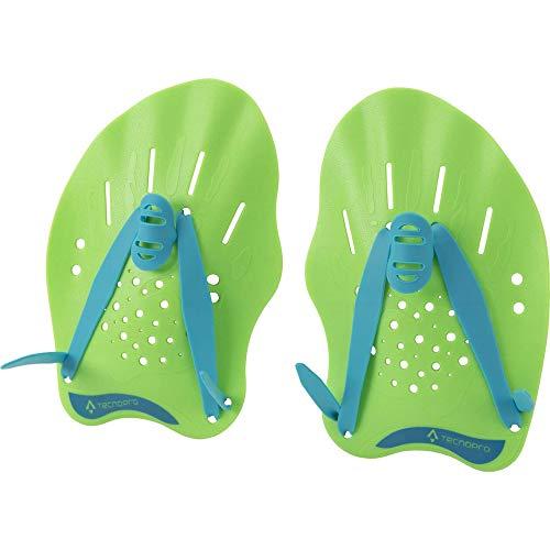 TECNOPRO Pagaia da nuoto-289403, Nuoto Unisex-Adult, Verde Lime/Blu, M