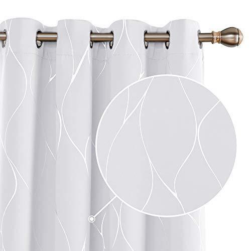 Deconovo Cortina Opaca para Habitación Matrimonio Moderno de Rayas Plateadas con Ojales 2 Piezas 140 x 175 cm Gris Blanco