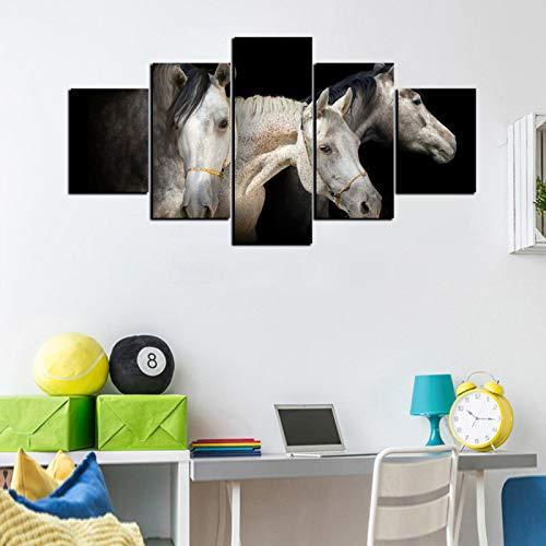 JYXJJKK 5 pintura de lienzo de decoración del hogar 200 * 100 CM solo lienzo Paisaje animal caballo blanco Niños Adultos Padres Sala de estar Hogar Comedor Salón Regalos Halloween Acción de gracias Re
