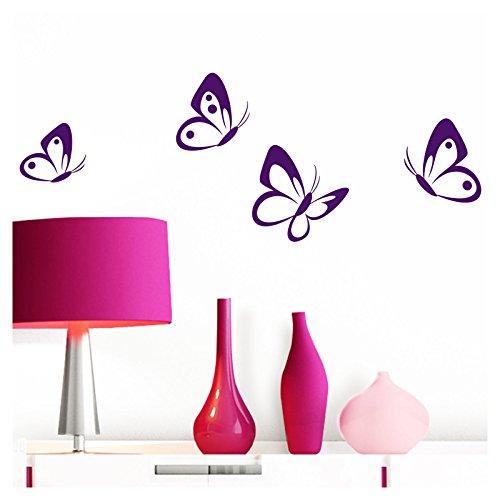Grandora Wandtattoo 4er Set Schmetterlinge I violett 8-10 cm I Baby Kinderzimmer selbstklebend Wand Aufkleber Wandaufkleber Wandsticker Sticker W697