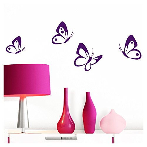 Grandora W697 Pegatina Pared 4 Set Mariposas - Violeta, 8-10 cm