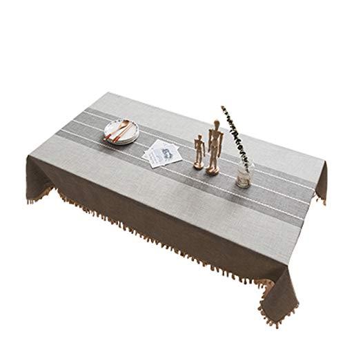 MOCHENG Nappe de Cuisine rectangulaire Motif Rayures, Gris, 55.12X62.99 inch