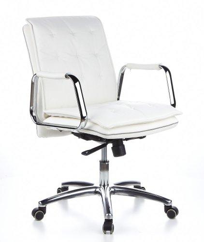 hjh OFFICE 600932 silla ejecutiva VILLA 10 cuero napa color marfil silla de oficina alta gama