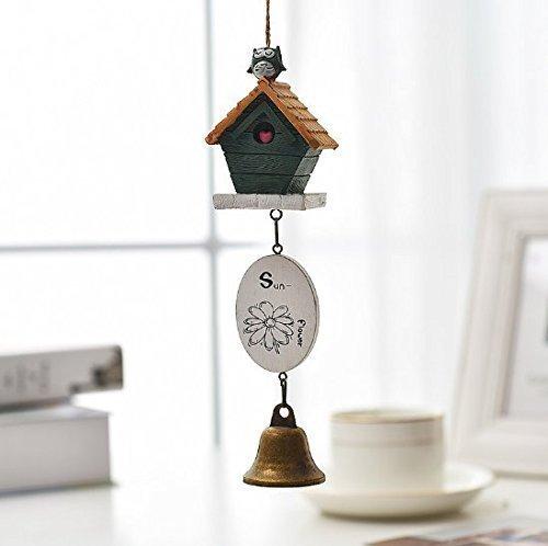 Uchic 1 pcs Home Mariage Accessoires Résine tentures Porte Garniture Vent Bell House et oiseaux carillons de voiture Décor pour enfant Faves Cadeau