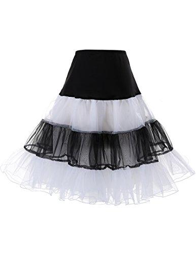 DRESSTELLS 1950 Petticoat Reifrock Unterrock Petticoat Underskirt Crinoline für Rockabilly Kleid Black-White XL