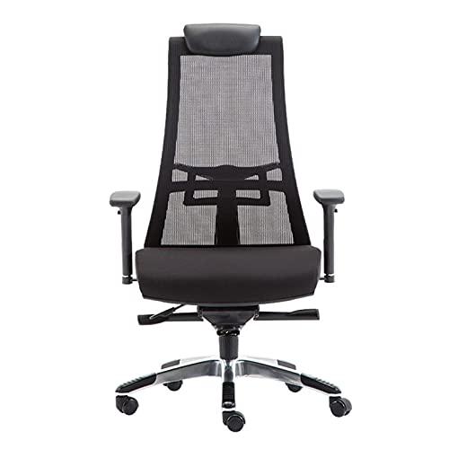 HXJU Silla de oficina ergonómica, silla de escritorio de malla transpirable con respaldo alto, función de inclinación y ruedas giratorias de 360°
