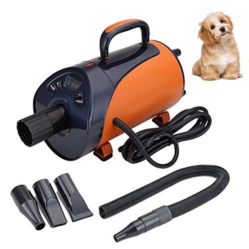 Paneltech 2800W Profi Hundefön Hundetrockner Leise Low Noise Hundepflege Haartrockner Einstellbare Wärme und Drehzahl Hundefön Blower Pet Dog Dryer (Orange)