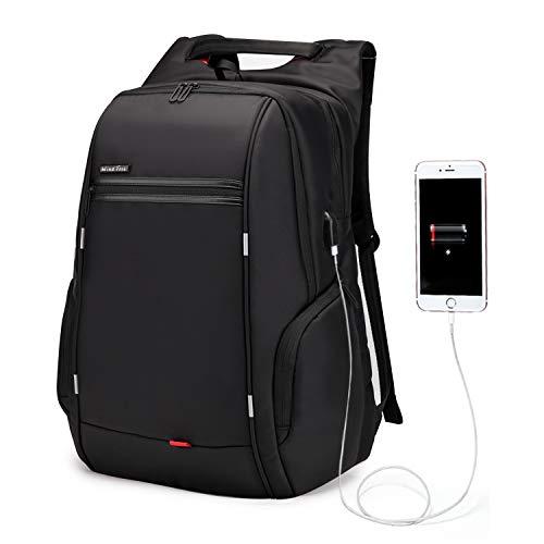 WindTook 17 Zoll Laptop Rucksack Herren Reiserucksäcke mit USB-Ladeanschluss Anti Diebstahl für Business Schule Uni Groß, 33 x 18 x 49, Schwarz