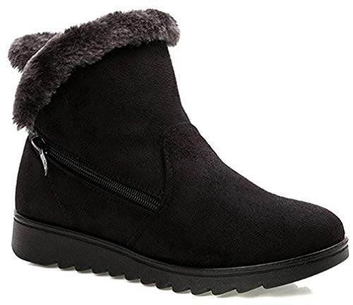 Mujer Botas de Nieve Comodas Botines de Invierno Zapatos Tacon Forrado Casual Calzado Piel Forradas Calientes Planas Outdoor Snow Boots para Mujer Antideslizante