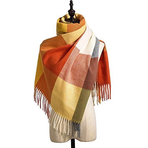 Yxr Bufanda de pata de gallo de invierno para mujer nueva europea y americana imitación cachemira caliente borla chal espesa bufanda a prueba de frío