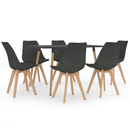 vidaXL Juego de Comedor 7 Piezas Muebles Mobiliario Exterior Hogar Cocina Terraza Mesa Silla Asiento Suave Moderno Decoración con Respaldo Gris Oscuro