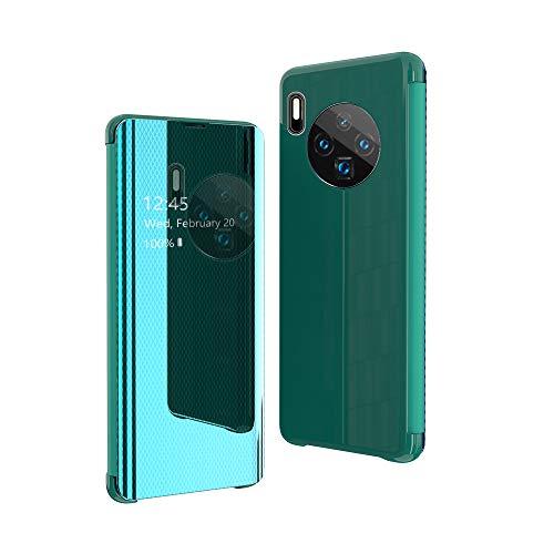CrazyLemon Hülle für Huawei Mate 30, Ultra Dünn Leicht Flip Sichtbar Spiegel Schutzhülle PU Leder + Mikrofaser PC Hybrid Stoßfest Handyhülle - Grün