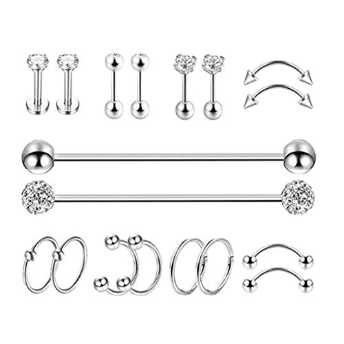lahomia 9 Pairs Dumbbells Piercing Tragus Earring Jewelry Kit